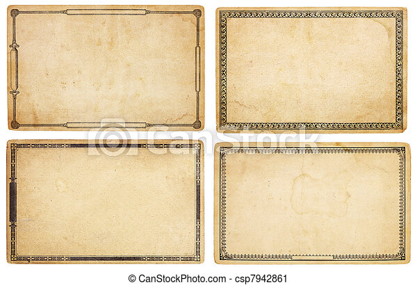 Four Old Cards with Decorative Borders - csp7942861