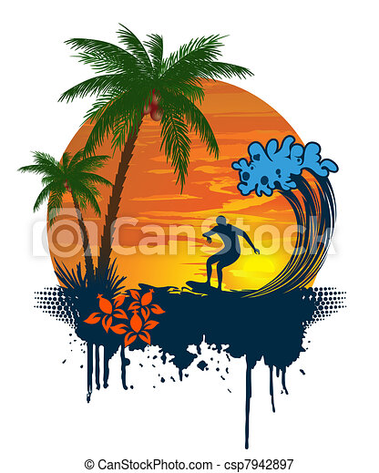 Silhouette of palm and surfer on tr - csp7942897