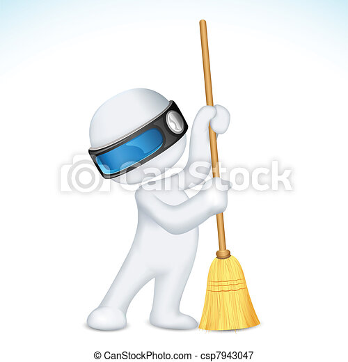 3d Scalable Man with Broom - csp7943047