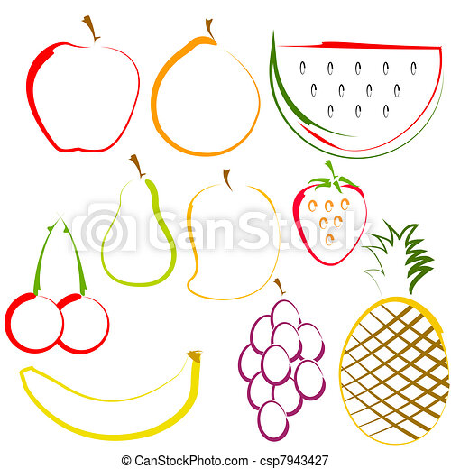Fruits in Line Art - csp7943427