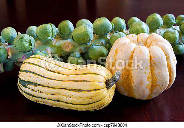 Brussels Sprouts with Sweet Dumpling and Delicata Squash - csp7943604