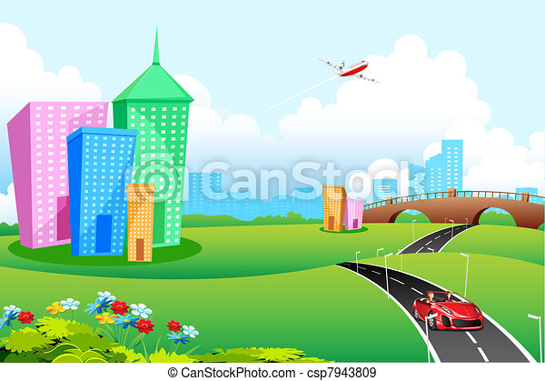 EPS Vectors of City View - illustration of city landscape ...