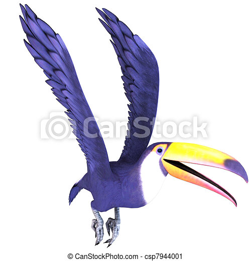 Bird With Open Wings Drawing Toucan Bird in Flight