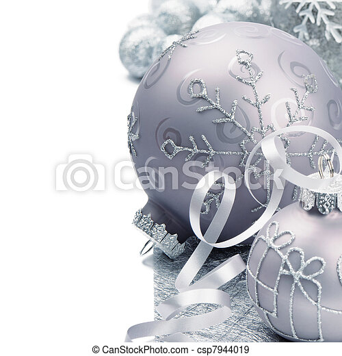 Christmas balls on silver background - csp7944019