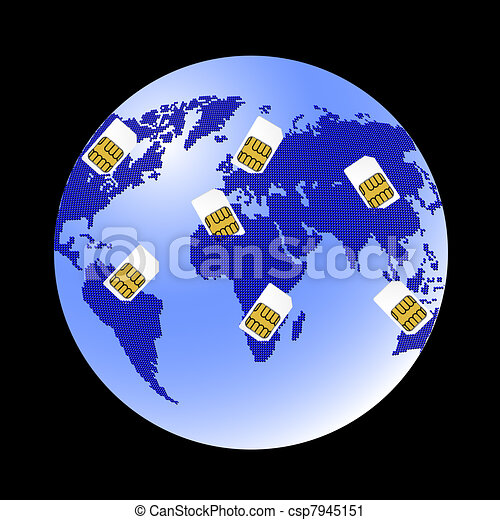 Globe Sim card connecting continents. - csp7945151