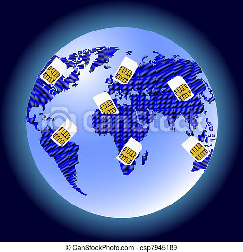 Globe Sim card connecting continents. - csp7945189