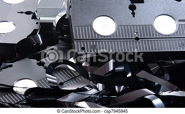Old VHS tapes ripped apart - csp7945945
