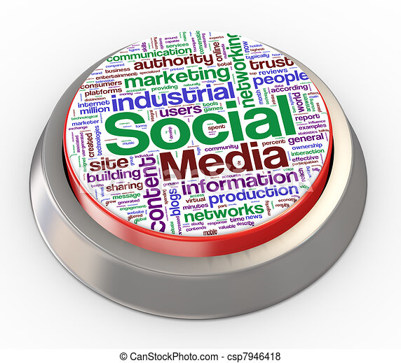 3d social media button - csp7946418