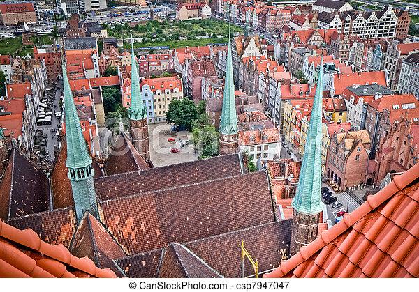 cidade, histórico,  Gdansk - csp7947047