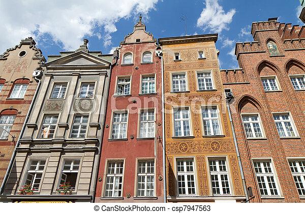 cidade, histórico,  Gdansk - csp7947563