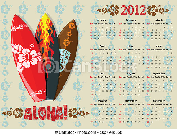 Vector Aloha calendar 2012 with surf boards - csp7948558