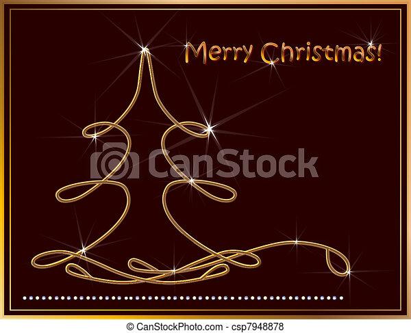 Christmas background with golden fir  - csp7948878