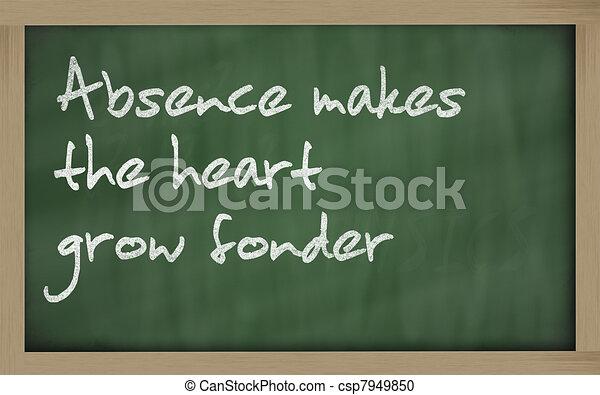 """ Absence makes the heart grow fonder "" written on a blackboard - csp7949850"