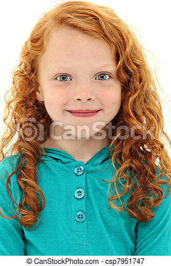 Close Up Girl Child with Orange Curly Hair and Blue Eyes - csp7951747