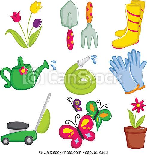 Spring gardening icons - csp7952383