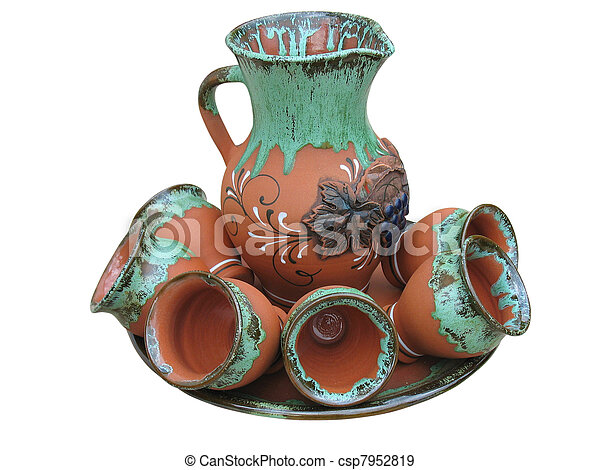 Colorful designed clay vase isolated over white - csp7952819