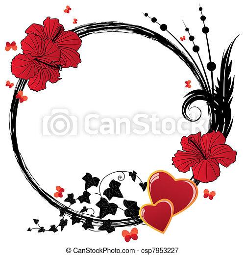 Illustrations vectoris es de floral cadre hibiscus - Dessin d hibiscus ...