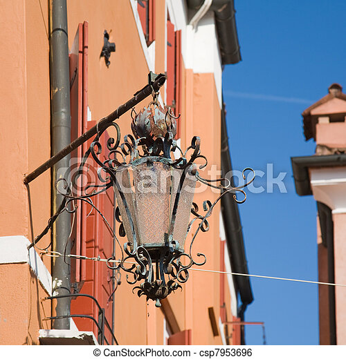 old corner street lamp on Burano, Italy; Veneto - csp7953696