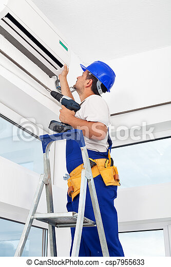 Worker mounting air conditioning unit - csp7955633