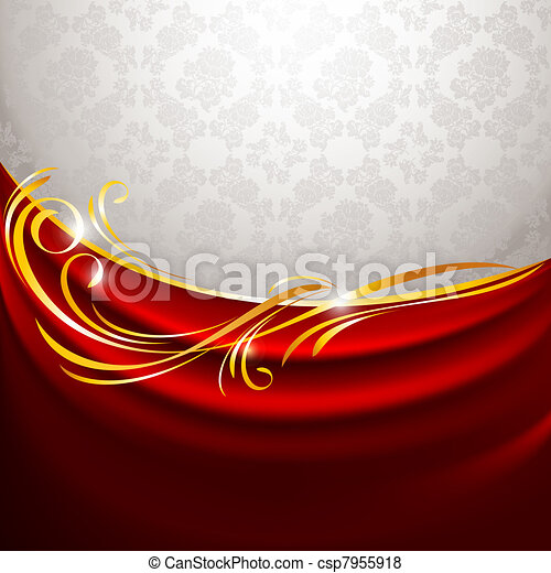 Red fabric curtain on gray backgrou - csp7955918