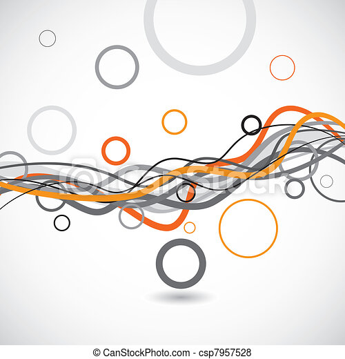 Vector lines and circles abstract background - csp7957528