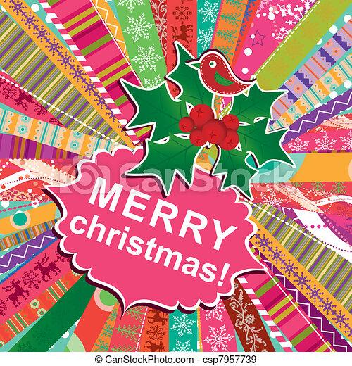 Template christmas greeting card, vector - csp7957739