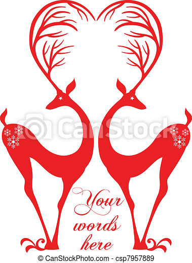 red deers with heart - csp7957889