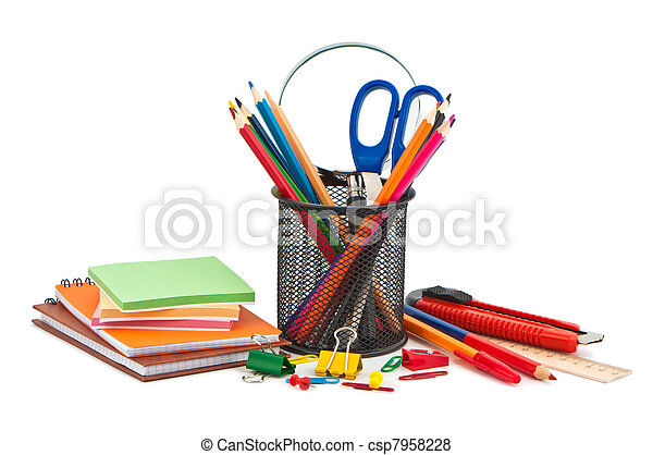 Miscellaneous office supplies on white background. - csp7958228