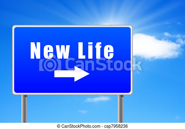 New life road sign with arrow on sky background. - csp7958236