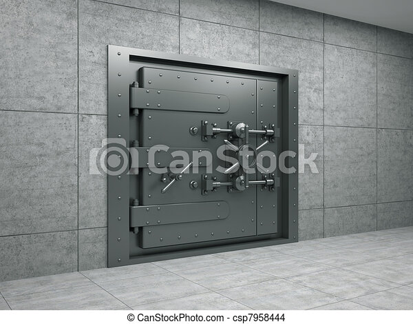 Banking metallic door - csp7958444