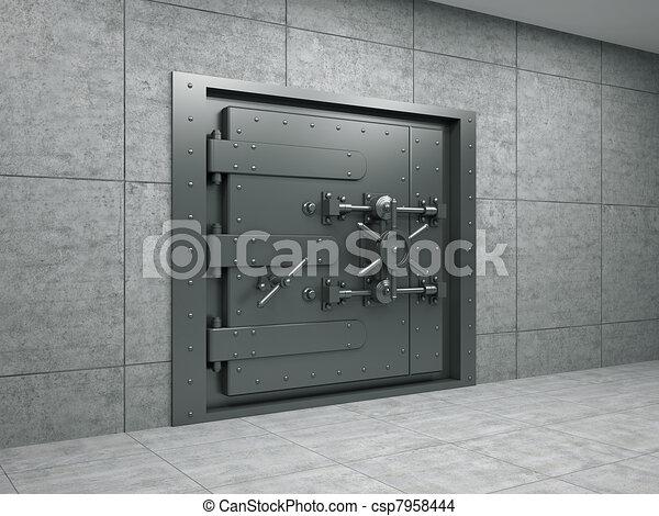 Banking metallic door - csp7958444