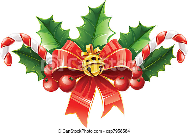 christmas decoration of red bow with gold bell and holly leaves - csp7958584