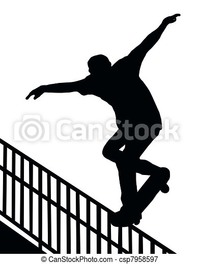 Skateboarding Nosegrind Rail Slide - csp7958597