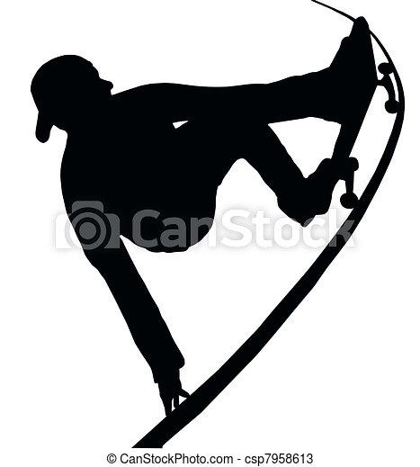 Skateboarding Vert Ramp Grab - csp7958613