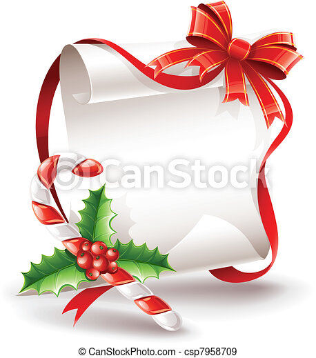 christmas greeting card with caramel cane - csp7958709