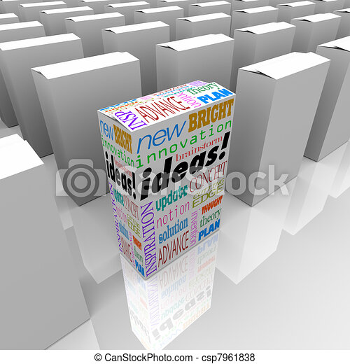 Many Boxes of Ideas - One Different Product Box Stands Out - csp7961838