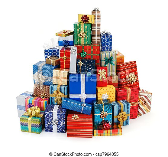 Big stack of colorful Christmas presents - csp7964055