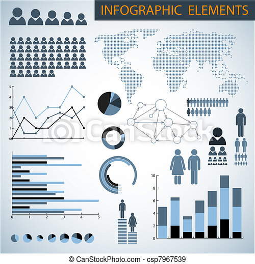 Big Vector set of Infographic elements - csp7967539