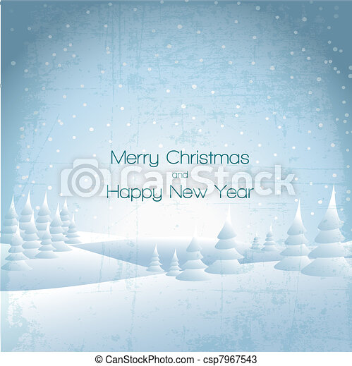 Winter card with snowy landscape  - csp7967543