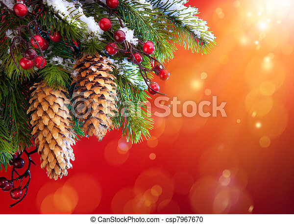 Art Christmas snowy tree  - csp7967670