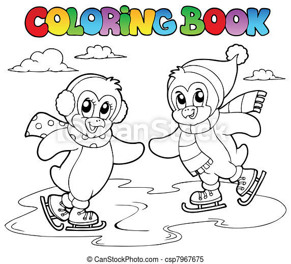 Coloring book skating penguins - csp7967675