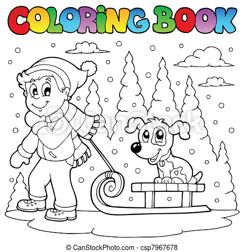 Coloring book winter theme 1 - csp7967678