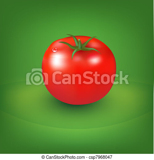 Red Tomato With Green Background - csp7968047