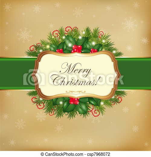 Merry Christmas Greeting Card - csp7968072