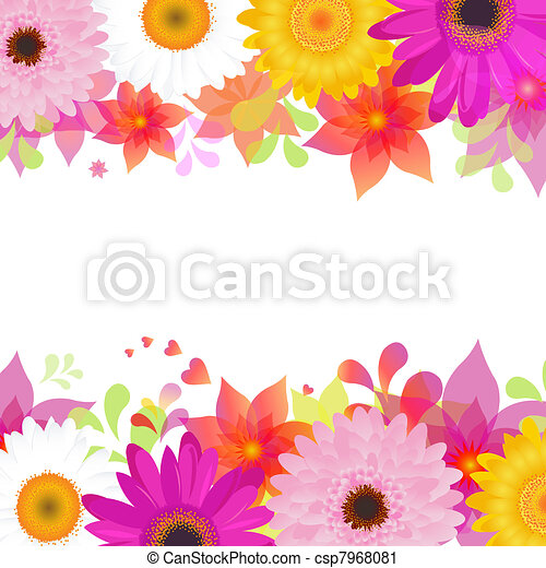 Flower Background With Gerber And Leafs - csp7968081