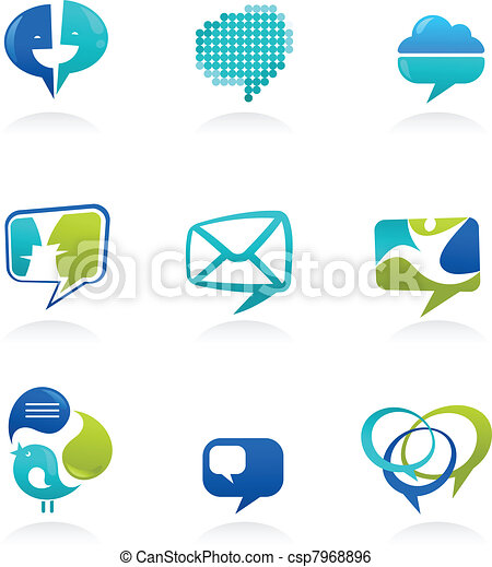 Collection of social media and speech bubbles icons - csp7968896