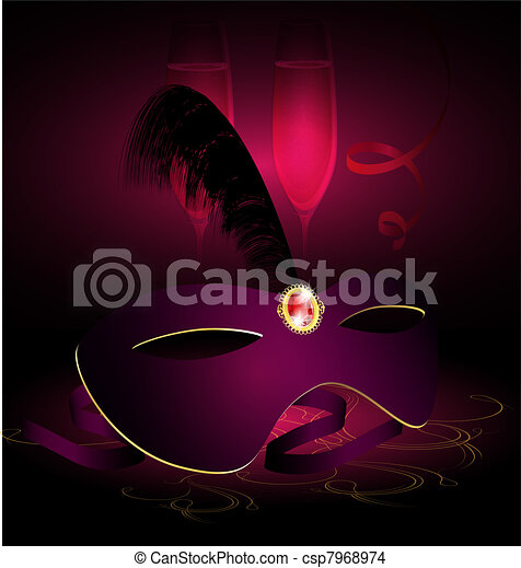 carnival half-mask and champagne - csp7968974