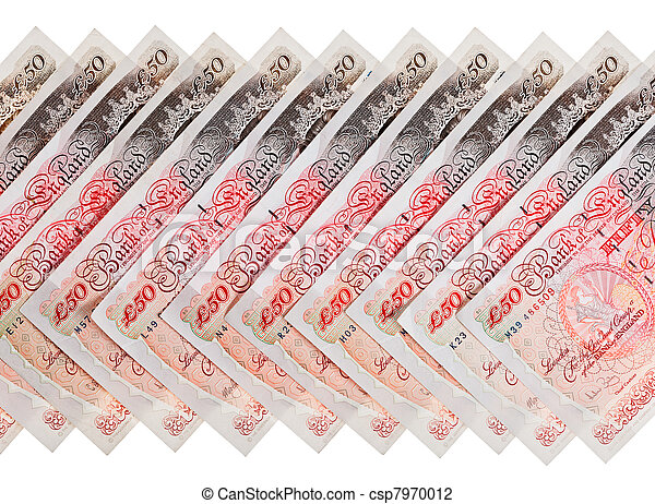 Many 50 pound sterling bank notes business background, isolated  on white - csp7970012