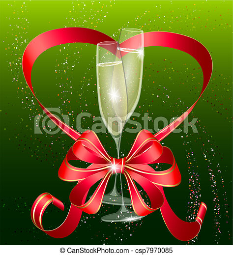 on a green background are two glasses of champagne decorated red bow