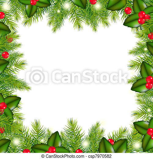 Winter Border With Christmas Tree And Holly Berry - csp7970582